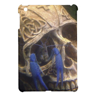 Blue lobster crayfish hanging out in a skull eye cover for the iPad mini