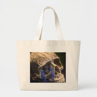 Blue lobster crayfish hanging out in a skull eye large tote bag