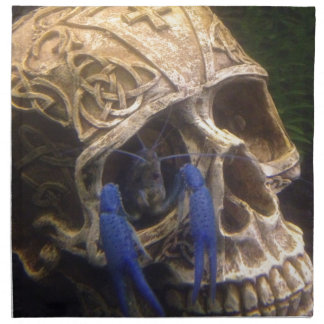 Blue lobster crayfish hanging out in a skull eye napkin