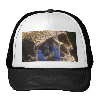 Blue lobster crayfish hanging out in a skull eye trucker hat