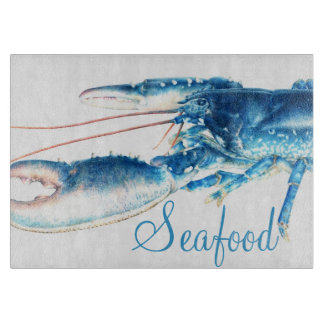 Blue lobster fine art seafood glass cutting board