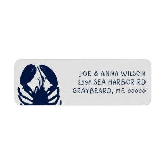 Blue Lobster Grey Return Address Labels