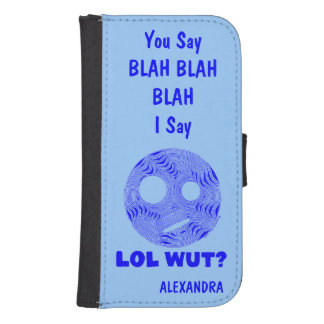 Blue LOL WUT Silly Smiley Face BLAH Personalized Phone Wallets