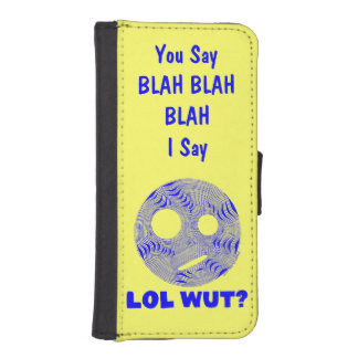 Blue LOL WUT Silly Smiley Face BLAH Phone Wallet