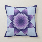 Blue Lone Star Quilt Design Throw Pillow