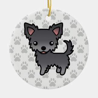 Blue Long Coat Chihuahua Cartoon Dog Ceramic Ornament
