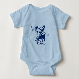 Blue Longhorn Steer with Cowboy Hat and Letters Baby Bodysuit