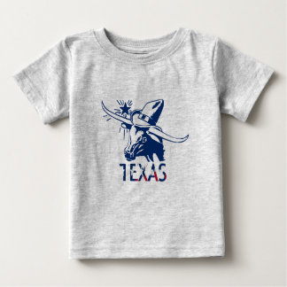 Blue Longhorn Steer with Cowboy Hat and Letters Baby T-Shirt
