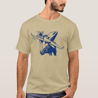 Blue Longhorn Steer with Cowboy Hat T-Shirt