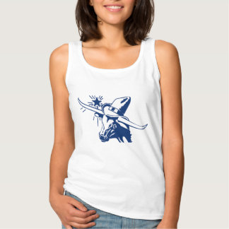 Blue Longhorn Steer with Cowboy Hat Tank Top