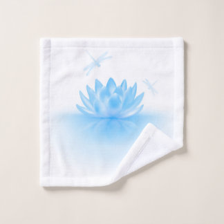 Blue Lotus and Dragonflies Wash Cloth