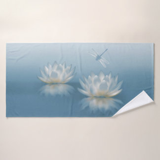 Blue Lotus and Dragonfly Bath Towel