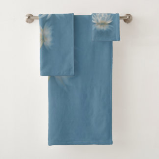 Blue Lotus and Dragonfly Bathroom Towel Set
