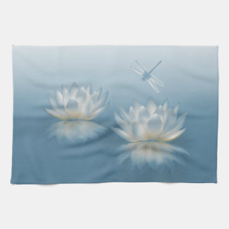 Blue Lotus and Dragonfly Kitchen Towel