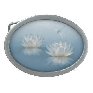 Blue Lotus and Dragonfly Oval Belt Buckle