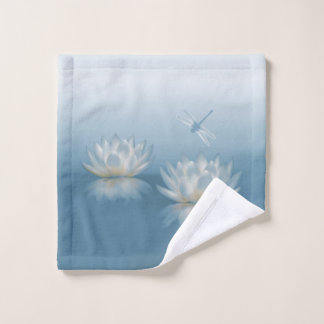 Blue Lotus and Dragonfly Wash Cloth
