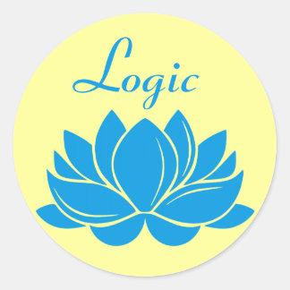 Blue Lotus Blossom Logic Round Sticker