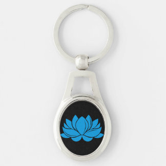Blue Lotus Blossom Silver-Colored Oval Keychain