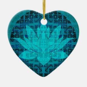 Blue Lotus Flower Ceramic Ornament