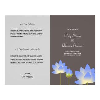 Blue lotus flower modern gray wedding program flyer