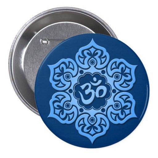 Blue Lotus Flower Om Button