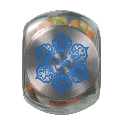 Blue Lotus Flower Om Glass Candy Jars