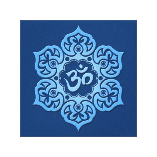 Blue Lotus Flower Om Stretched Canvas Prints