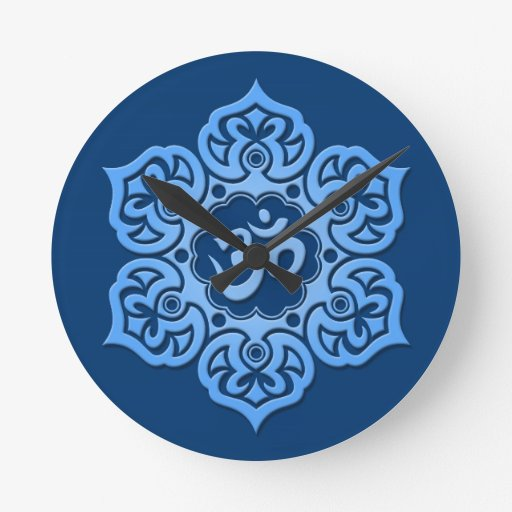 Blue Lotus Flower Om Wallclocks