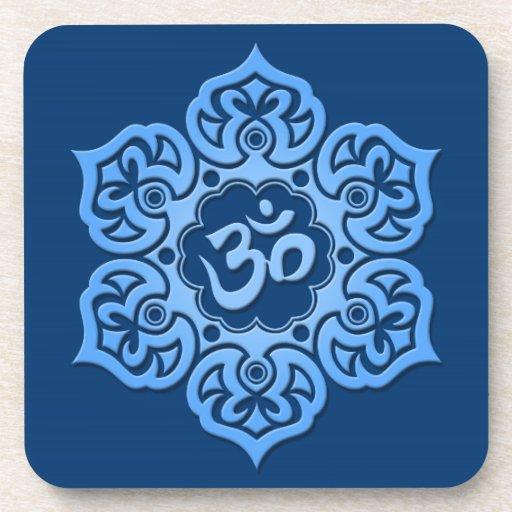 Blue Lotus Flower Om Drink Coaster