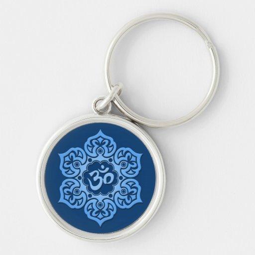 Blue Lotus Flower Om Keychain