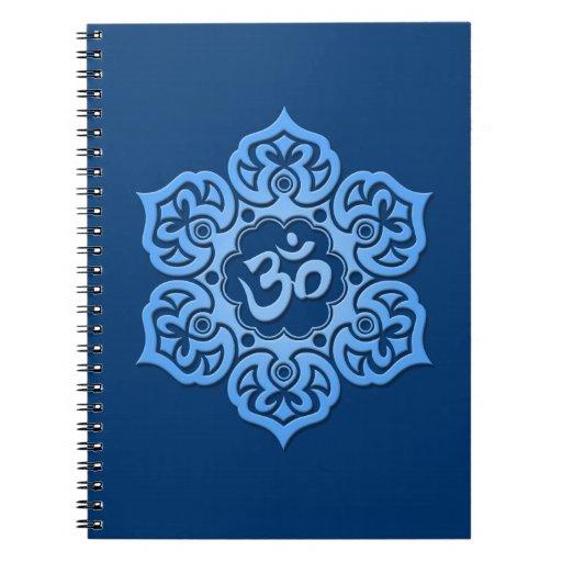 Blue Lotus Flower Om Spiral Note Book