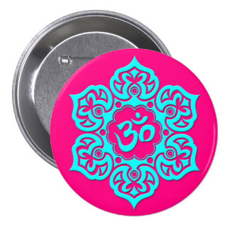 Blue Lotus Flower Om on Pink Buttons