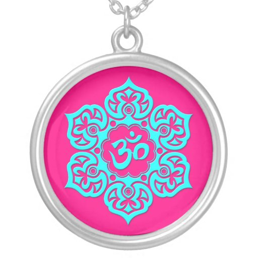 Blue Lotus Flower Om on Pink Custom Necklace
