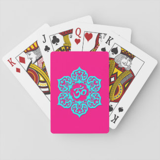 Blue Lotus Flower Om on Pink Card Deck