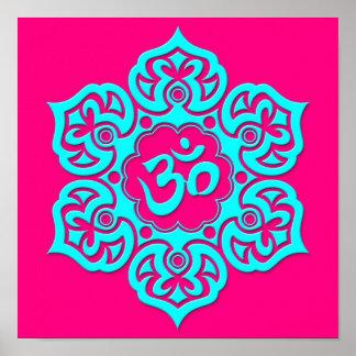 Blue Lotus Flower Om on Pink Poster