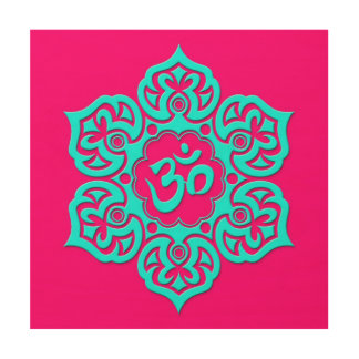 Blue Lotus Flower Om on Pink Wood Prints