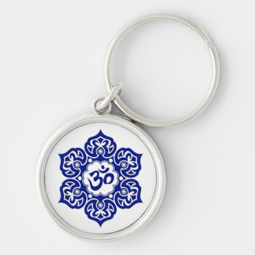 Blue Lotus Flower Om on White Key Chain