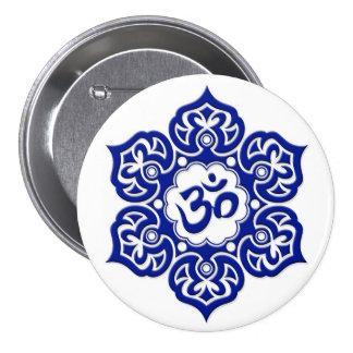 Blue Lotus Flower Om on White Pin