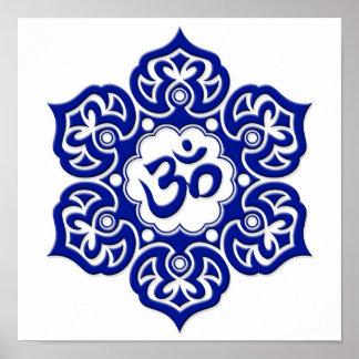 Blue Lotus Flower Om on White Poster