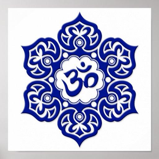 Blue Lotus Flower Om on White Print
