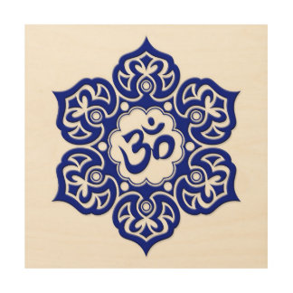 Blue Lotus Flower Om on White Wood Canvas