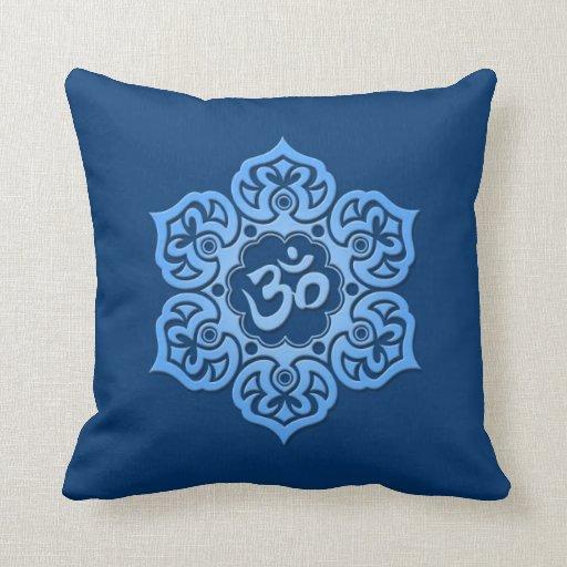 Blue Lotus Flower Om Pillows
