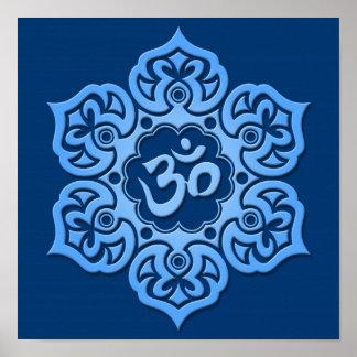 Blue Lotus Flower Om Poster