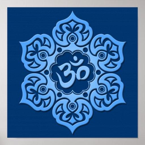 Blue Lotus Flower Om Posters