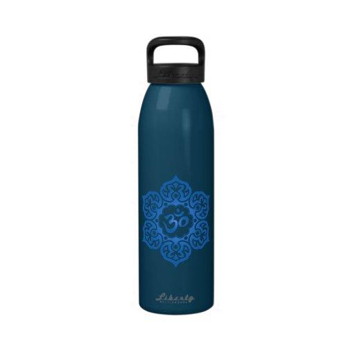 Blue Lotus Flower Om Water Bottle