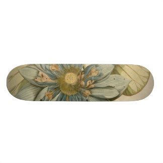 Blue Lotus Flower on Tan Background with Writing Skate Board Deck