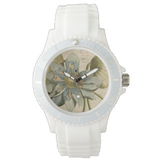 Blue Lotus Flower on Tan Background with Writing Watches