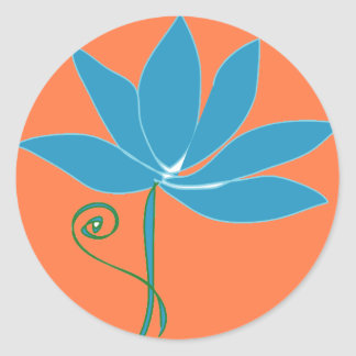 Blue Lotus Flower with Orange Background Classic Round Sticker