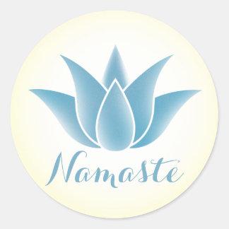 Blue Lotus Flower Yoga Namaste Classic Round Sticker