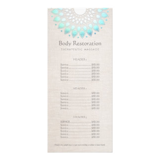 Blue Lotus Health and Wellness Price List Menu Rack Card Design